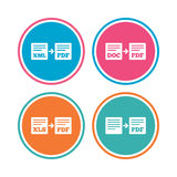 Export file signs. Convert DOC to PDF symbols. Royalty Free Stock Photo