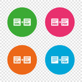 Export file signs. Convert DOC to PDF symbols. Royalty Free Stock Photos