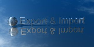 Export and Import. 3d Presentation Business, Logo and Symbol Stock Image