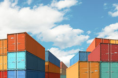 Export import cargo containers bulk in port or harbor 3d illustration stock photography