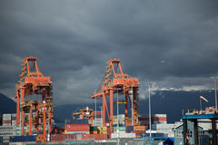 Export import port business trade dock waterfront Vancouver Canada Stock Photos