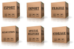 Export import shipping relocation cardboard box. Export sending package shipping international or global trade parcel delivery relocation import fragile or vector illustration