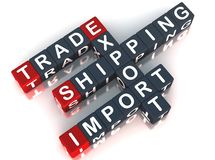 Export import trade. Words trade export import shipping, in 3d crossword Stock Photo