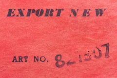 Export. The inscription on the export of cardboard article Stock Images