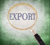 Export magnify. By 3d rendered magnifying glass on green grunge background Stock Photography