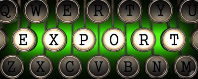 Export on Old Typewriter's Keys. Stock Photography