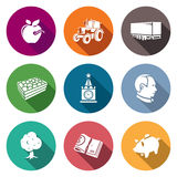 Export of Polish apples Icons Set. Vector Illustration. Royalty Free Stock Image