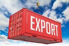 Export - röd hängande lastbehållare arkivbilder