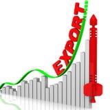 export röd pil på den rutiga bakgrunden stock illustrationer