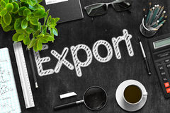 Export - Text on Black Chalkboard. 3D Rendering. Royalty Free Stock Image