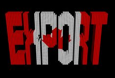 Export text containers Canadian flag Stock Images