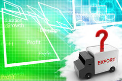 Export Van With Red Question Marks  Illustration Stock Photo