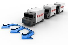 Export Van With Triple Navigation Arrows Stock Photo
