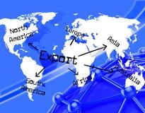 Export weltweit zeigt den Handelsexport an und exportierte Stockbild