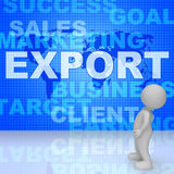 Export Words Shows Sell Overseas And Commerce 3d Rendering. Export Words Indicating International Selling And Trading 3d Rendering Royalty Free Stock Photo