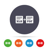 Export XLS to PDF icon. File document symbol. Stock Photos