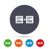 Export XML to PDF icon. File document symbol. Stock Photography