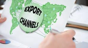 A exportação canaliza o conceito em um papel imagem de stock