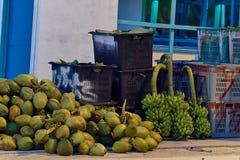 Exportação das porcas e das bananas dos cocos fotos de stock