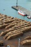 Exportações da madeira foto de stock