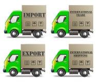 Exportación o comercio internacional y salida de la importación Foto de archivo libre de regalías