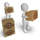 Exportações do comércio internacional do meio das caixas dos países Fotografia de Stock