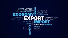 Exporte la nube animada de la palabra del transporte de la carga de la economía de la importación de la logística del negocio de  imágenes de archivo libres de regalías