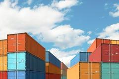 Exporte recipientes de carga da importação aumentam na ilustração do porto ou do porto 3d fotografia de stock