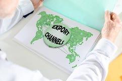 Exporten kanaliserar begrepp på ett papper arkivfoton