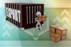 exportillustration för robot 3d Arkivbild