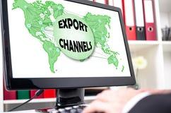 Exportkanalbegrepp på en datorskärm royaltyfri foto