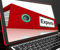 Exports File On Laptop Showing Distribution Reports Stock Photos