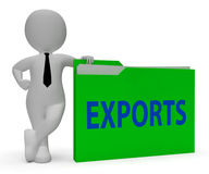 Exports Folder Indicates Sell Abroad And Correspondence 3d Rendering. Exports Folder Meaning Sell Abroad And Trading 3d Rendering Stock Photo