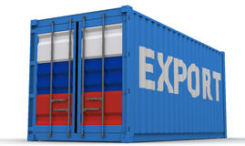 Exports of the Russian Federation. Freight container on a white surface with inscription EXPORT and images of the flag of the Russian Federation on the doors Stock Photos