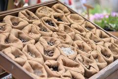 Exposant de sac de graine Photos libres de droits