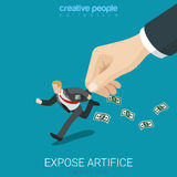 Expose artifice catch fiend businessman flat 3d vector isometric Stock Image