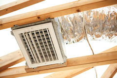 Exposed Air Conditioning Duct Work. Expoxed air conditioning duct and electrical wiring on a construction site Royalty Free Stock Photography