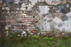 Exposed brick on a wall. Old exposed brick on a wall in Vietnam Royalty Free Stock Photo