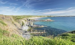 Exposed Cliff at Whitesands Bay in Pembrokeshire stock image