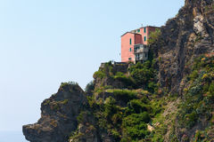 Exposed house at cliffs of Manarola, Italy Royalty Free Stock Photography
