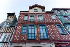 Exposed timber buildings france Rennes royalty free stock photography