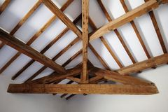 Exposed Timber roof structure Royalty Free Stock Image