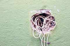 Exposed wire in the electrical wiring Stock Images