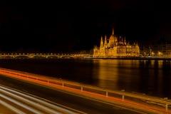 Exposer largo del edificio parlamentario húngaro - 17 de marzo Fotografía de archivo