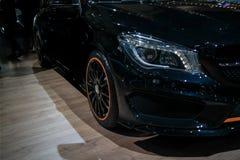 Exposição automóvel, canto de Mercedes Benz que indica sua classe nova épico AMG do _S dos carros fotografia de stock royalty free