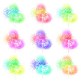 Exposição colorida bonita do fogo de artifício para a celebração YE novo feliz Fotos de Stock Royalty Free