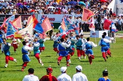 Exposição colorida na cerimônia de inauguração de Nadaam fotografia de stock