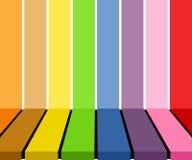 Exposição colorida vazia do tabletop sobre o fundo colorido das listras Vector a ilustração, EPS10 ilustração do vetor