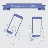 Exposição da demonstração de um telefone celular Fotos de Stock