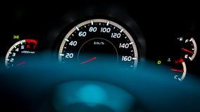 Exposição da luz do velocímetro do painel do carro imagens de stock